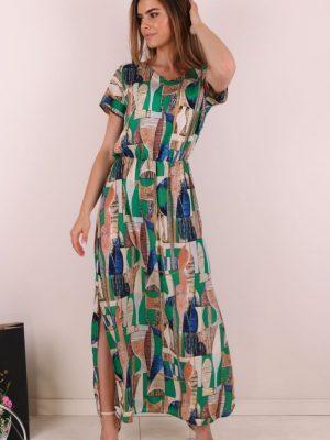 sukienka maxi zielona w etniczne wzory