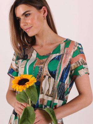 sukienka maxi zielona etniczne wzory 5